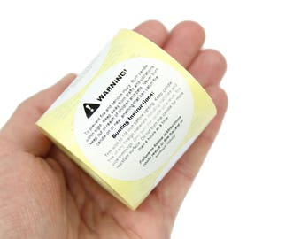 Candle Warning / Safety, Candle Makers, Labels / Stickers. 49mm Diameter. Ideal for Jars, Tins, Containers.