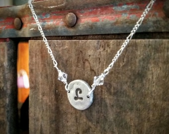 Wildflowers....personalized fine silver initial necklace