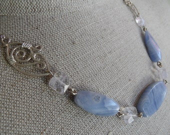 Blue lace agate and sculpted wire art necklace
