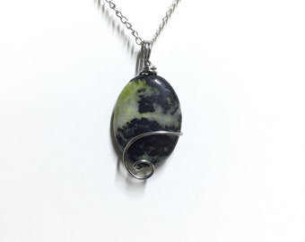 Wire Wrapped Serpentine Stone Necklace