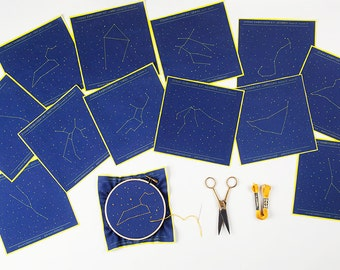 Virgo Zodiac Embroidery Kit - diy constellation embroidery kit
