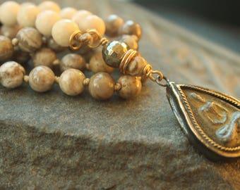 River Stone knotted long  Necklace, Tibetan pendant, spiritual bohemian gypsy jewelry,