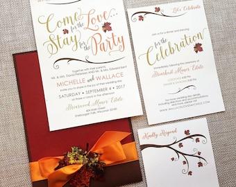 Come For the Love Wedding Invitation, Fall Wedding Invitation, Autumn Leaf Wedding Invitation, Rustic Wedding Invite, Pocket Fold Invitation