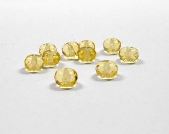 10 Pale Topaz Czech Faceted Rondelle, 4x7mm, Rondelles, Czech, Beads, Faceted, Jewelry Making