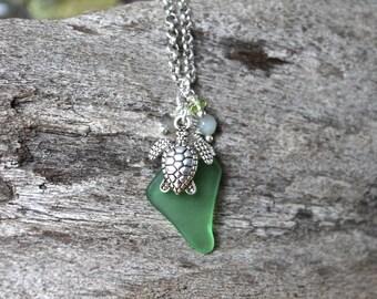 SALE Sea Turtle Jewelry made in Hawaii - Sea Glass Necklace by Mermaid Tears Hawaiian Honu Necklace - Hawaiian Jewelry - Sea Turtle Necklace