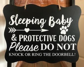 Baby Sleeping Sign/Sleeping Baby Sign/Do Not Knock Sign