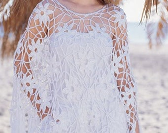white poncho, Crocheted poncho, black poncho, made to order, crochet handmade, cover up, summer beach, wedding shrug, bridal celebration