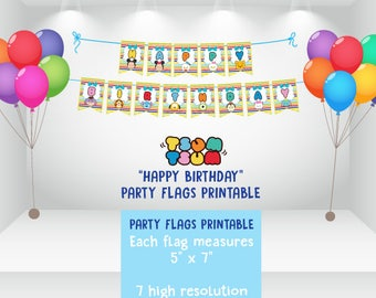 DIGITAL Instant Download Tsum Tsum Party Flags, Happy Birthday Flags, Happy Birthday Bunting, Happy Birthday Banner, Tsum Tsum Party