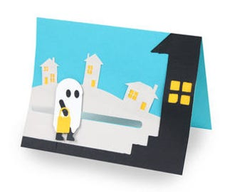 Trick or Treat Ghost Moving Card , Blank inside , Movable , 3D , Pop Dots , Family , Friends