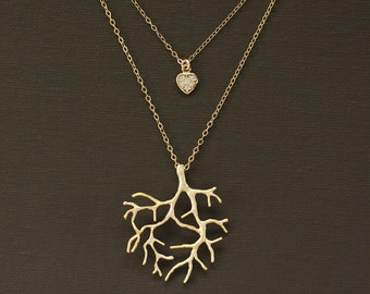 Layered Gold Coral Branch and Heart Necklace