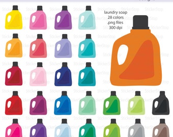 Laundry Soap Icon Digital Clipart in Rainbow Colors - Instant download PNG files - Laundry Detergent