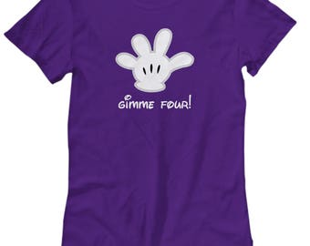 Gimme Four Mickey Mouse Glove Shirts for Women Gift Disneyland Shirt High Five