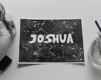 Watercolour Painting - Personalised Star Wars-Inspired Name / Black, Galaxy, Font