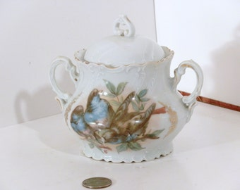 Bone China Sugar bowl, with Blue bird, flower and gold decoration.