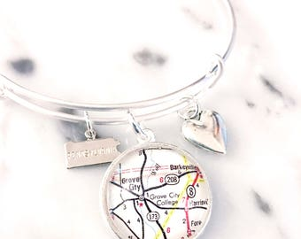 Grove City College Map Charm Bracelet - Map Bracelet - Grove City Bracelet - Wolverines - Grove City Graduate - Grove City Student