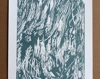 Blue Green Grass Print | Linocut Print