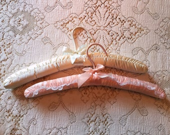Vintage satin and lace covered clothes hangers | Bridal | bride | lingerie | vintage