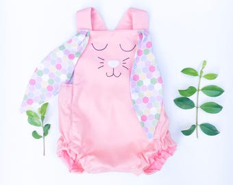 Pink bunny romper with floral ears, newborn gift, cotton,handmade baby outfit,  hand embroidered