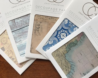 Decoupage Papers by Craft Consortium pack of 3, World Maps, Vintage Postcard Scripts, Seaspray, Travel Stamps