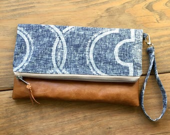 Indigo Navy Faux Leather Clutch - Custom Wristlet  - Personalized Gift - Bridesmaid Gift - Leather Clutch - Gift for her - Gift under 30