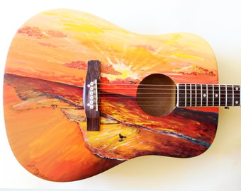 Custom order Guitar--Any design you can think of, hand painted onto a fully playable acoustic guitar!