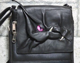 Dragon Purse With Face Small Messenger Bag Expandable Cross Body Monster Black Leather 439