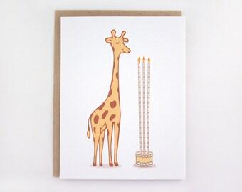 Giraffe Birthday Cake - Birthday Card