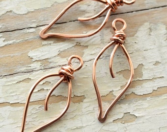 Leaves Solid Copper Wire, Small - Handmade Wirework Connector, Charm, or Pendant Pure Copper Leaf