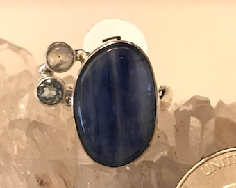 Kyanite and Blue Topaz Ring Size 7