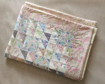 Vintage Liberty of London Patchwork Baby Girl Cot Quilt - Cot sized measuring 101cm x 75cm / 40 inches x 29 inches - fantastic condition
