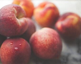 Peaches on Marble - Rustic Food Fine Art - Kitchen Decor - Farmhouse Simplistic - Still Life Food Photography - Interior Design  - Wall Art