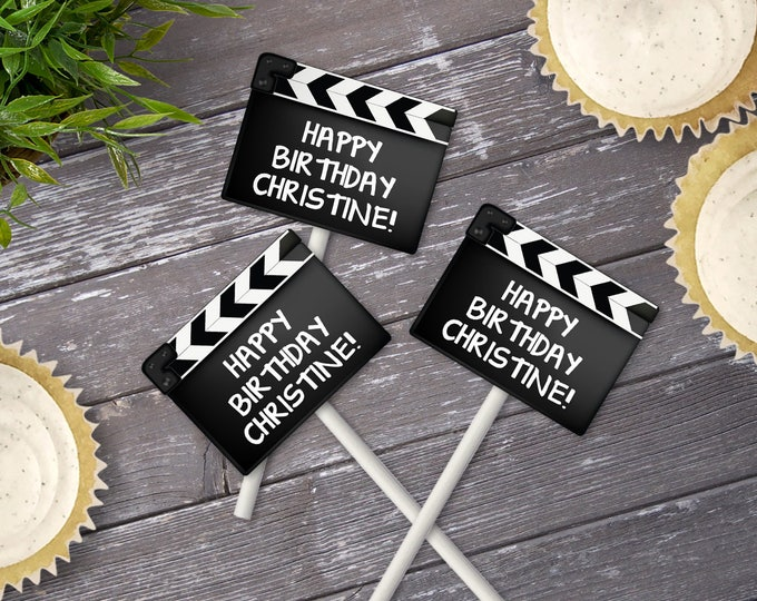Movie Party Cupcake Toppers - Movie Night Birthday, Movie Clapper Toppers | Editable Text - Instant Download PDF Printable