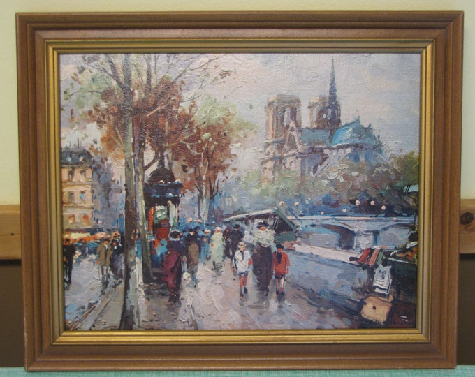 Antoine Blanchard Print Paris Scene Framed Wall Hanging French Home Decor