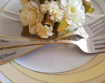 Custom Wedding Forks Personalized Engraved Forks Custom Name Forks Wedding Date Forks Personalized Gold Forks Set Wedding Forks Gift Couple
