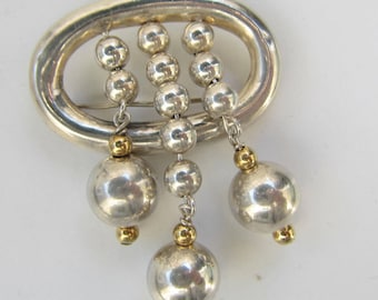 Large Sterling Silver and Brass Dangling Ball Bead Pendant - 2485