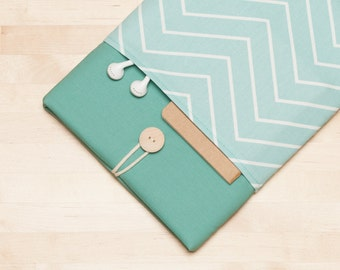 iPad sleeve, iPad Pro 10.5 case / iPad cover / iPad Pro 9.7 case /  padded  - chevron in sage
