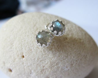 Labradorite stud earrings-rose cut labradorite post earrings-natural gem studs-Cabochon gem post-gift for her-labradorite sterling silver
