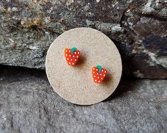Raspberry ear studs, sterling silver, fruit post earrings, fruit stud earrings, tiny, kawaii, fun