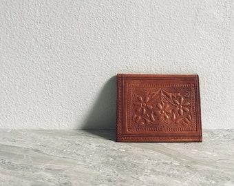 Vintage Genuine Leather Wallet / Floral Embossed / Minimal Bohemian Style