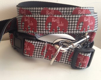 Houndstooth with Roll Tide Elephants Alabama Leash and Collar Set