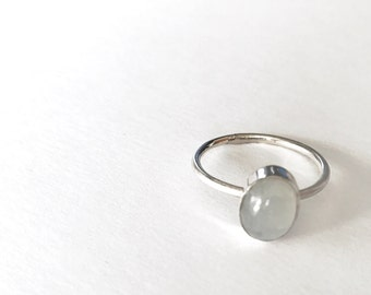 Moonstone ring,sterling silver, stackable ring