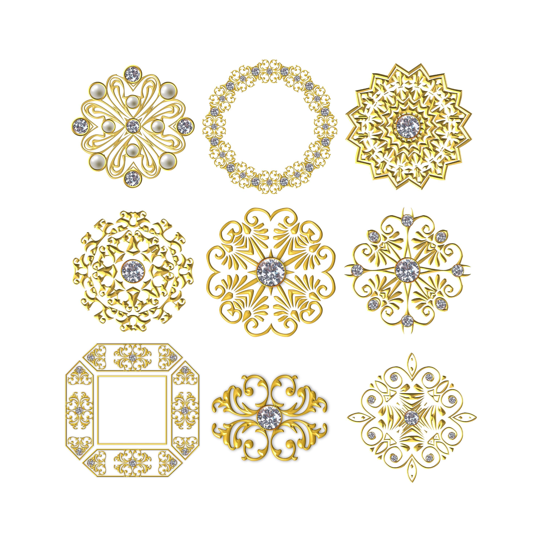 Molten Gold Frames - Pearl Rhinestone Frames, 3D Frames, Photoshop ...