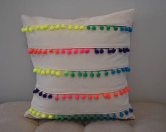 """Pillow cover multi-colored  pompoms 16x16"""" pillow cover - cover only"""
