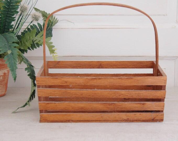 Rustic Wood Storage Basket
