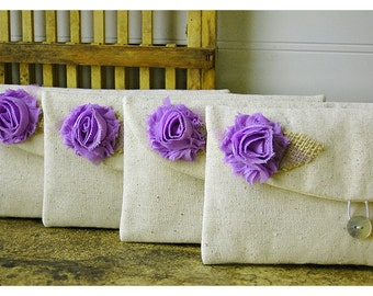 Burlap Bridesmaid Clutch Lavender Purse, Raw cotton Linen, Gift, flower choice, Wedding bridal clutch - Set of 4 Makeup bag travel
