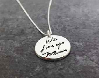 Custom Handwriting Necklace - Sterling Silver Signature Jewelry - Personalized Gift - Mother's Day Gifts - Custom Writing Jewelry