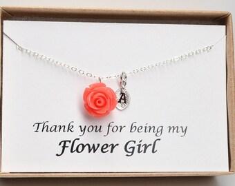 Flower girl gift-Children wedding jewelry-Junior bridesmaid gift-Flower girl proposal-Gift for flower girl-Flower necklace-Girl wedding gift