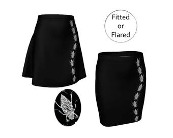 Black Bugs Skirt, Fitted Pencil or Flared Skater, White Insects Nature, Medium Length, Stretchy Spandex, XS X M L XL, Elastic Waist Mid Rise