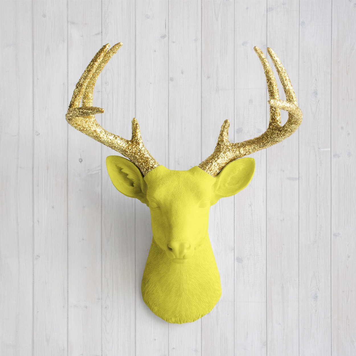 Wall Charmers™ Deer in Yellow Gold Glitter Faux Head Fake