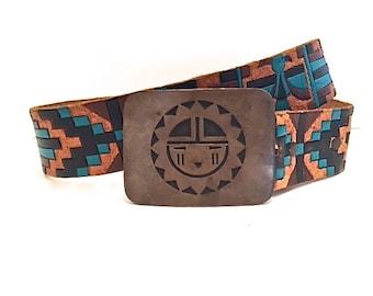 1960's High-Waisted Hand Tooled High Waisted Geometric Leather Belt with Hopi Native Brass Buckle